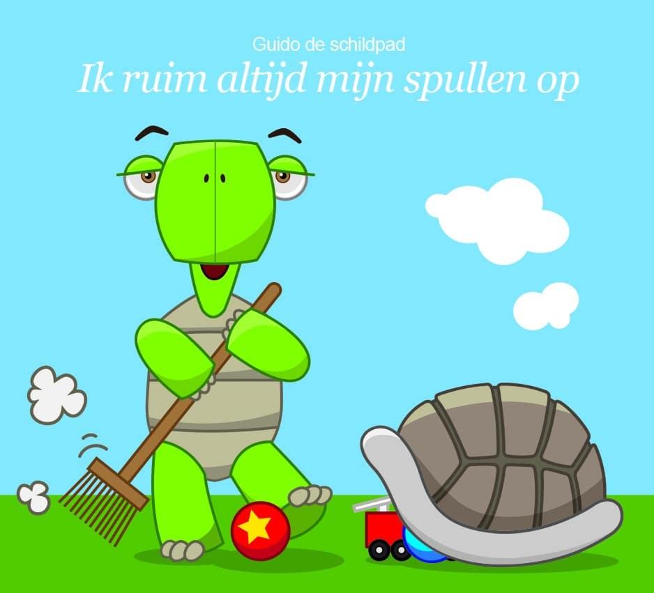 Voorbeeld Positive Behaviour Support; schildpad ruimt spullen op